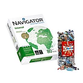 Kopierpapier Navigator Universal, DIN A4, 80 g/m², weiß, 1 Karton = 20 x 500 Blatt + Gratis Celebrations-Box