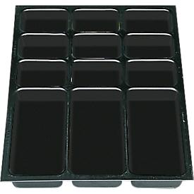 Kunststof inzet voor schuifladen A3, 12 vakken, 5 stuks