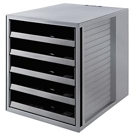 Ladebakje SCHRANK-SET KARMA, 5 open lades, DIN A4, lichtlopend, B 275 x D 330 x H 320 mm, grijs