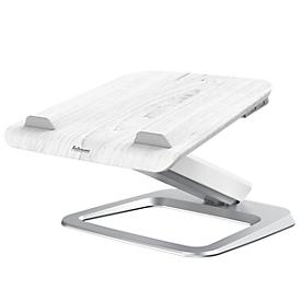 Laptopstandaard Fellowes Hana™, tot 17 inch en 4,5 kg, in hoek en hoogte verstelbaar, 90° draaibaar, USB-poorten, wit