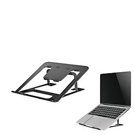 Laptopstandaard NewStar NSLS085BLACK, voor laptops 10-17″ & tot 5 kg, 6-staps handmatige hoogteverstelling, inklapbaar, zwart.