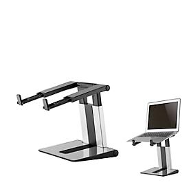 Laptopstandaard NewStar NSLS200, voor laptops 10-17″ & tot 5 kg, 6-staps handmatige hoogteverstelling, inklapbaar, zilver-zwart.
