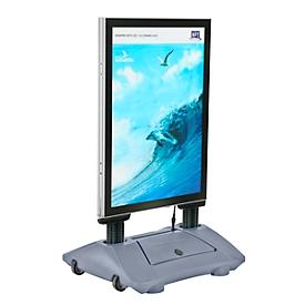 LED Kundenstopper WindPro, A1, wetterfest, beidseitig einsetzbar, mit Rollen, 650-1300 Lux, Polycarbonat, grau