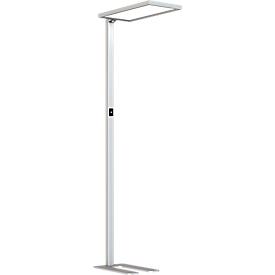 LED Lampe LAVA, dimmbar, für Bildschirmarbeitsplatz, 4000 K, als Stehlampe, silbern