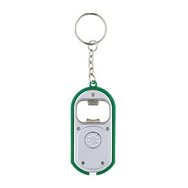 LED-Schlüsselanhänger, Silberfarben/Grün, Standard, Auswahl Werbeanbringung optional