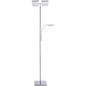 LED-Stehleuchte RUBEN, Stahl, Lichtfarbe Warmweiß, 11+4W, Fluterkopf dimmbar, Lesearm verstellbar