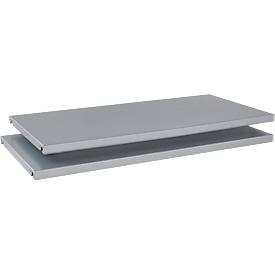 Legborden TETRIS SOLID, voor vleugeldeurkasten, B 600 mm, plaatstaal, gepoedercoat, blank aluminium, 2 stuks