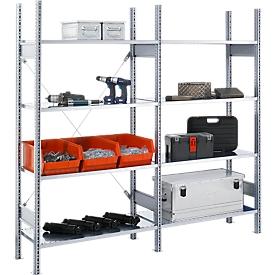 Legbordstelling FBR 2200, complete stelling 2,08 m, 1 basis- en 1 aanbouwsectie incl. 8 legborden, H 2013 x B 2080 x D 300 mm