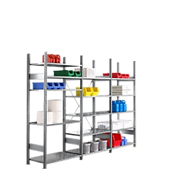 Legbordstelling R 3000 , B 3105 x P 300 x H 2278 mm, 3 stellingsecties: 1 basis- en 2 aanbouwsecties inclusief 15 in hoogte verstelbare legborden, gegalvaniseerd