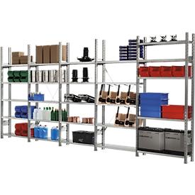 Legbordstelling R 3000, complete stelling 5,155 m, 1 basis- en 4 aanbouwsecties incl. 25 legborden, gegalvaniseerd, H 2278 x B 5155 x D 300 mm