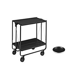 Leifheit Inklapbare serveerwagen, zwart + dienblad, gratis