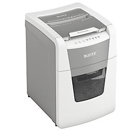 LEITZ Aktenvernichter IQ Autofeed Small Office 100, vollautomatisch, 2 x 15 mm Mikropartikelschnitt, P-5, 34 l, 6-100 Blatt Schneidkapazität, weiß
