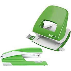 LEITZ® Bürolocher + Tischheftgerät SET, grün