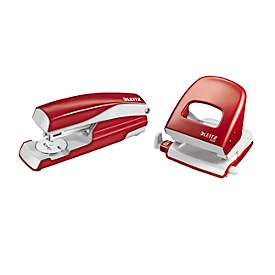 LEITZ® Bürolocher + Tischheftgerät SET, rot