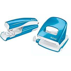 LEITZ® Bürolocher + Tischheftgerät Wow SET, metallic-blau