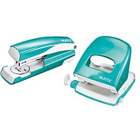 LEITZ® Bürolocher + Tischheftgerät Wow SET, metallic-eisblau