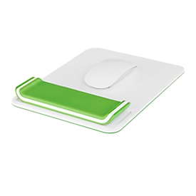 LEITZ® Ergo WOW muismat, ergonomisch, met in 2 standen in hoogte verstelbare polssteun, L 260 x B 200 mm, wit/groen