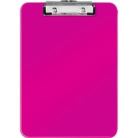 LEITZ® klembord WOW 3971, A4, polystyreen, met ophangoog, roze