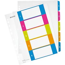 LEITZ® kunststof indexbladen Wow, cijfers 1-5, A4 extra breed, Via pc beletterbaar, losbladig