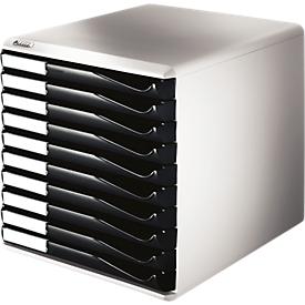 LEITZ® ladebox, 10 schuifladen, A4, polystyreen, lichtgrijs/zwart