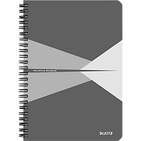 LEITZ® Office collegeblok 445800 A5, gelamineerde kaft, geruit, grijs