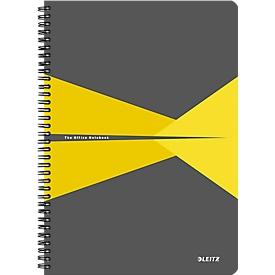 LEITZ® Office collegeblok 464700 A4, gelamineerde kaft, geruit, geel