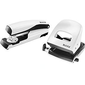 LEITZ® office punch + desktop stapler Wow SET, pearl white