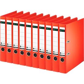 LEITZ® Ordner 1007/1008, DIN A4, Rückenbreite 52 mm, 10 Stück, hellrot