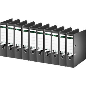 LEITZ® Ordner 1007/1008, DIN A4, Rückenbreite 80 mm, 10 Stück, schwarz