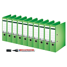 LEITZ® Ordner 1007, DIN A4, 80 mm, 10 Stück, grün + GRATIS edding Permanentmarker 3000