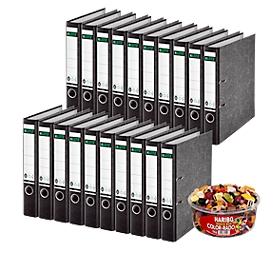 LEITZ® Ordner 1050 + 1kg HARIBO Color-Rado, DIN A4, Rückenbreite 52 mm, 20 Stück, schwarz