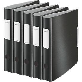 LEITZ® ordner Active Style, A4, rugbreedte 65 mm, 5 stuks, satijnzwart