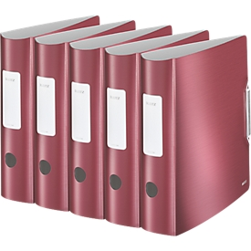 LEITZ® Ordner Active Style, DIN A4, Rückenbreite 82 mm, 5 Stück, granat rot