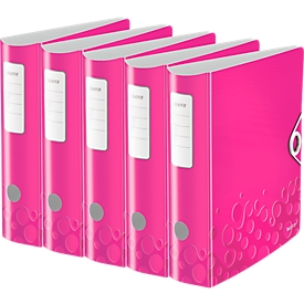 LEITZ® Ordner Active WOW, DIN A4, Rückenbreite 82 mm, 5 Stück, pink