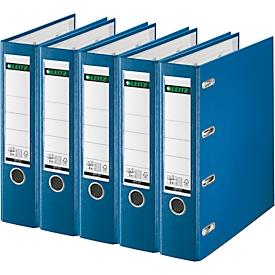 LEITZ® Plastik-Doppelordner 1012, DIN A4, 75 mm, PP, 5 Stück, blau