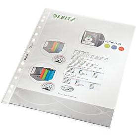 LEITZ Prospekthülle 4790, DIN A4, oben offen, 100 Stück, genarbt, transparent, 0,10 mm
