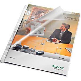 LEITZ Prospekthüllen 4780, DIN A4, oben und Lochseite offen, 100 Stück, 4 fach Lochung