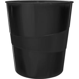 Leitz® Prullenbak, volume 15 l, stapelbaar, CO2-neutraal & 100% recyclebaar, zwart