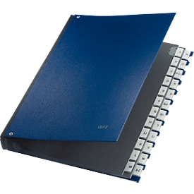 LEITZ® Pultordner, für DIN A4, alphabetisch, 26 Fächer, Graupappe, blau