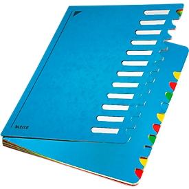 Leitz sorteermap A4, met 12 waaiers, van duurzaam karton, blauw