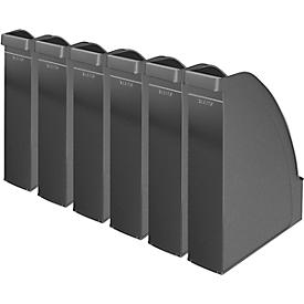 LEITZ® tijdschriftenhouder 2476, rugbreedte 70 mm, polystyreen, 6 stuks, zwart