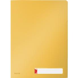 Leitz® transparante hoes Cosy Privacy, ondoorzichtig, A4, voor max. 40 vel, 3 vakken & etiket, 3 stuks, geel