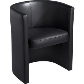 Leren fauteuil Club, echt leer, zwart