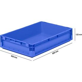 Lichte Eurobox ELB 6120, van PP, inhoud 23,3 l, zonder deksel, blauw