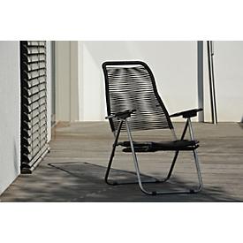 Ligstoel / fauteuil Spaghetti, retro-look, zwart