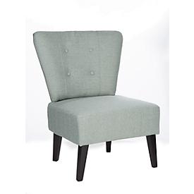 Lounge fauteuil BRIGHTON, stofbekleding, vintage look, massief houten poten, lichtgrijs