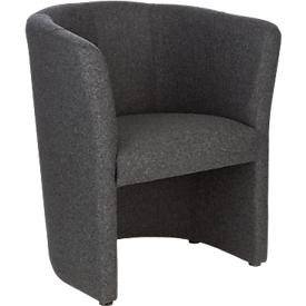 Lounge fauteuil gestoffeerd Nowy Styl CLUB, volledige stoffering, met bodemglijders, antraciet