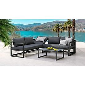 Loungeset 'Rhodos' 3-dlg., 1 couch 3-zitter/1 couch 2-zitter/1 tafel, B 880 x D 600 x H 350 mm, antraciet