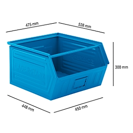 Magazijnbak met draagstang SSI Schäfer LF 14/7-1Z, staal, L 538 x B 475 x H 300 mm, 60 l, blauw