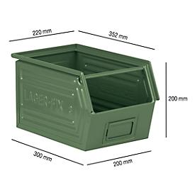 Magazijnbak met draagstang SSI Schäfer LF 14/7-3, staal, L 352 x B 220 x H 200 mm, 11,5 l, groen